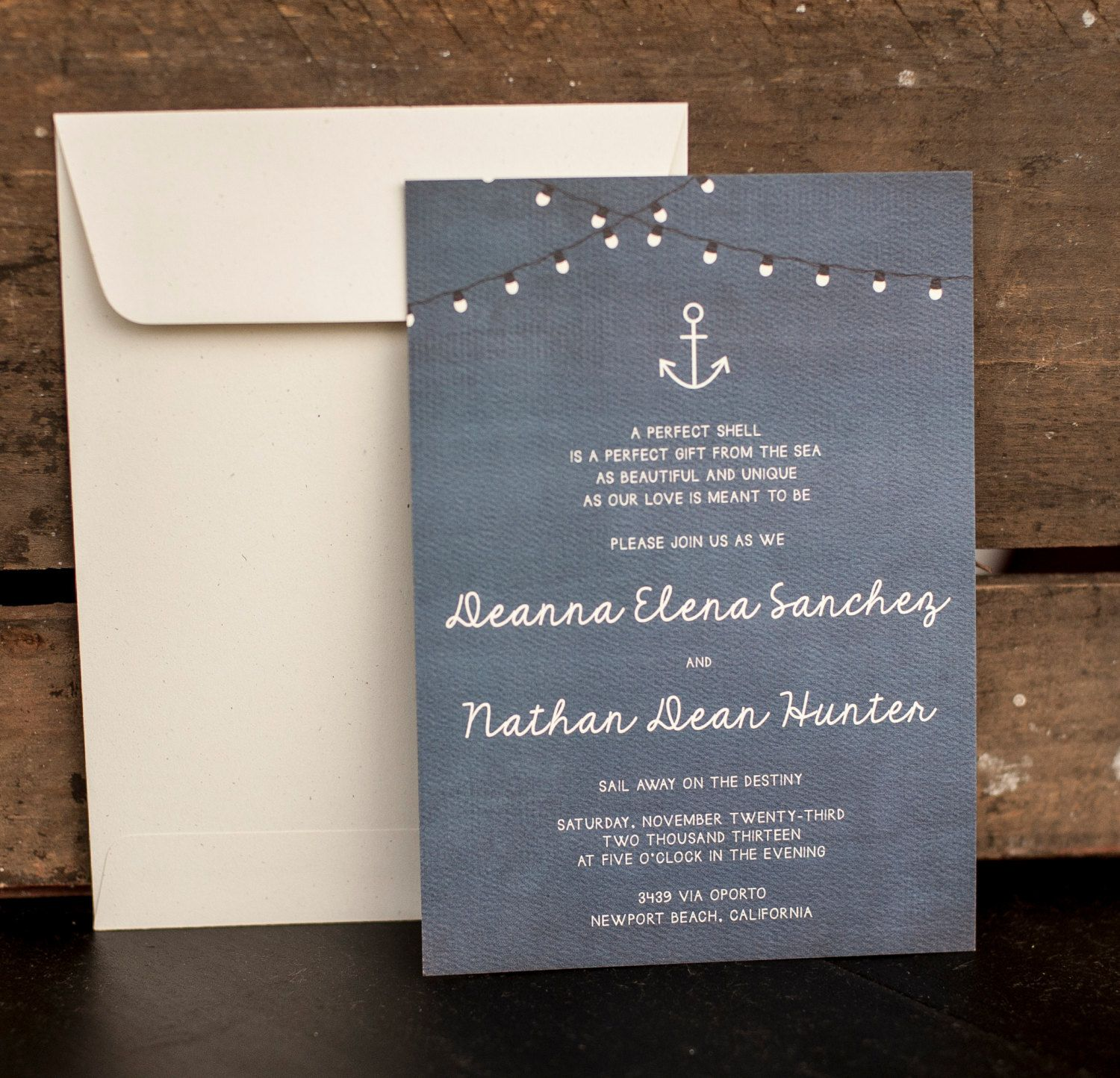 Wedding Invitations The Deanna rustic nautical by