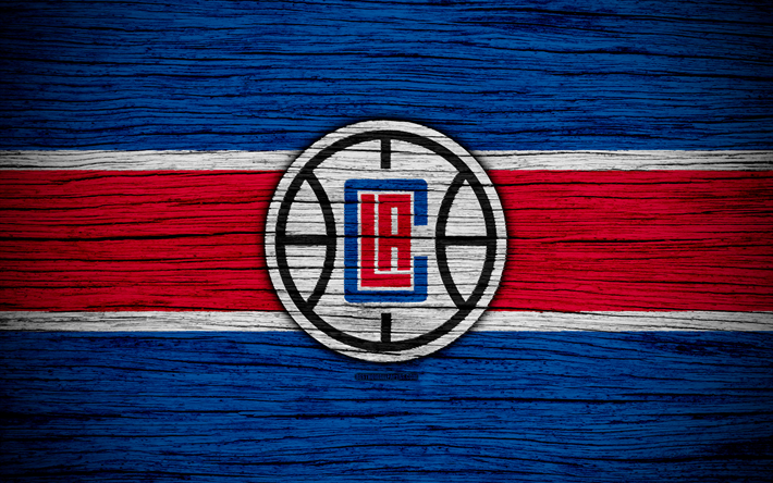 Download wallpapers 4k, Los Angeles Clippers, NBA, wooden texture, LA Clippers, basketball