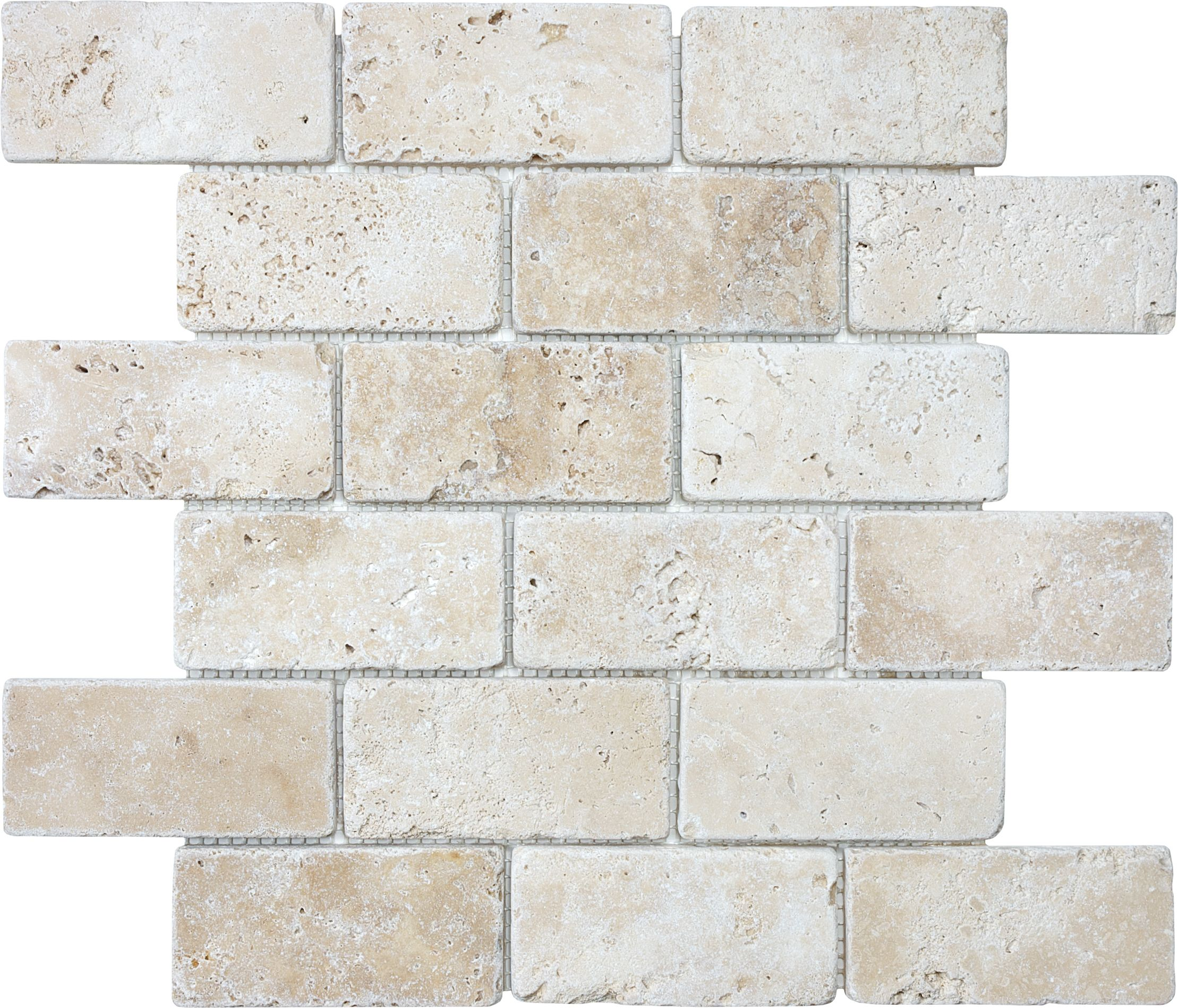 2 perfect colors for kitchen backsplash possibly bar area need these in longer bricks tumbled ivory travertine brick mosaics 2 inches x 4 inches