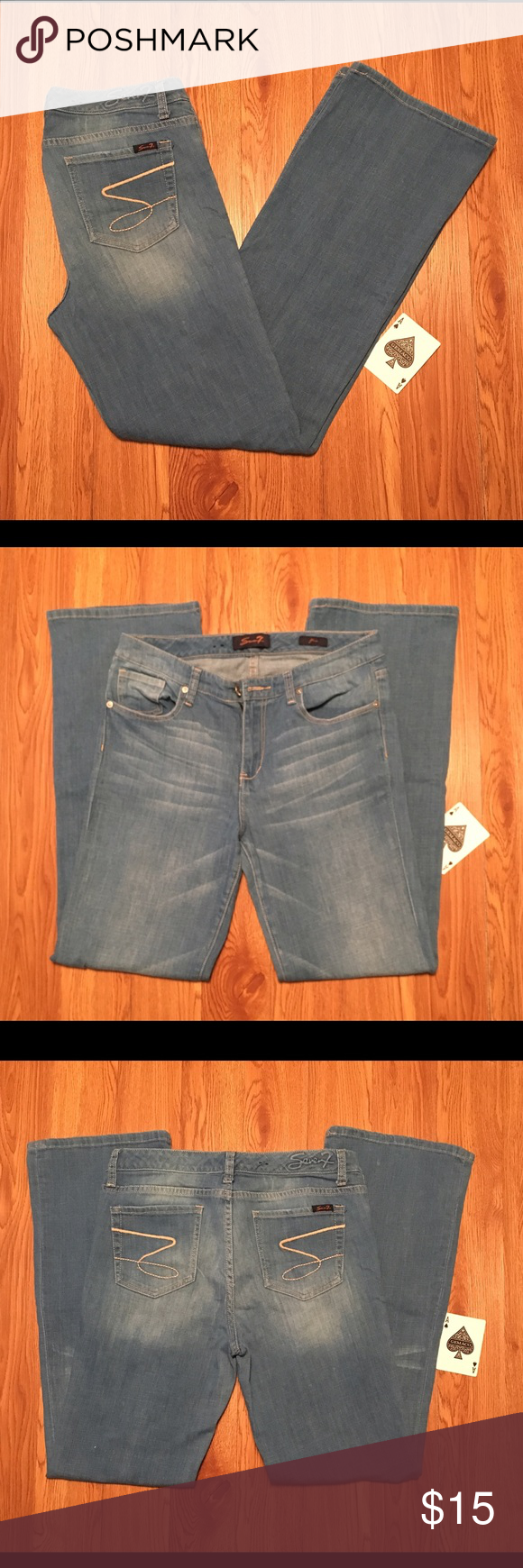 """Seven7 Distressed Wash Flare Jeans Size 8 Beautiful Pair Of Seven7 Distressed Wash Flare Jeans With Great """"Whiskering"""", Size 8-Measured At 30x31 With 10"""" Rise. These Seven7 Jeans Are In Excellent Used Condition With No Tears Or Stains (Please See Photos). Seven7 Jeans Flare & Wide Leg"""