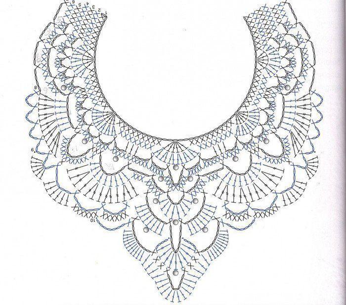 maxi colar de crochet - grafico | collares | Pinterest | Ganchillo ...