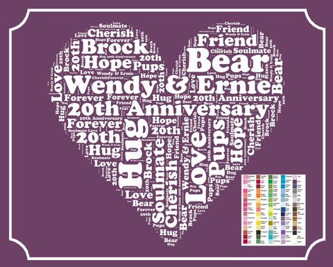 Personalized 20th Anniversary Gift Word Art Print