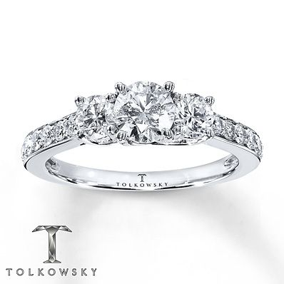 So Beautiful!!   Tolkowsky Engagement Ring 1 1/6 ct tw Diamonds 14K White Gold