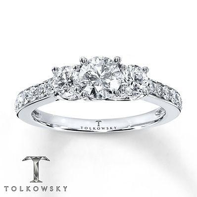 So Beautiful!!   Tolkowsky Engagement Ring 1 1/6 ct tw Diamonds 14K White Gold