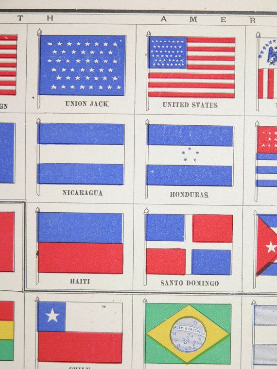 Antique National Flags Print Vintage 1900 Old Color World Nations Country History Patriotism By OldMapsandPrints