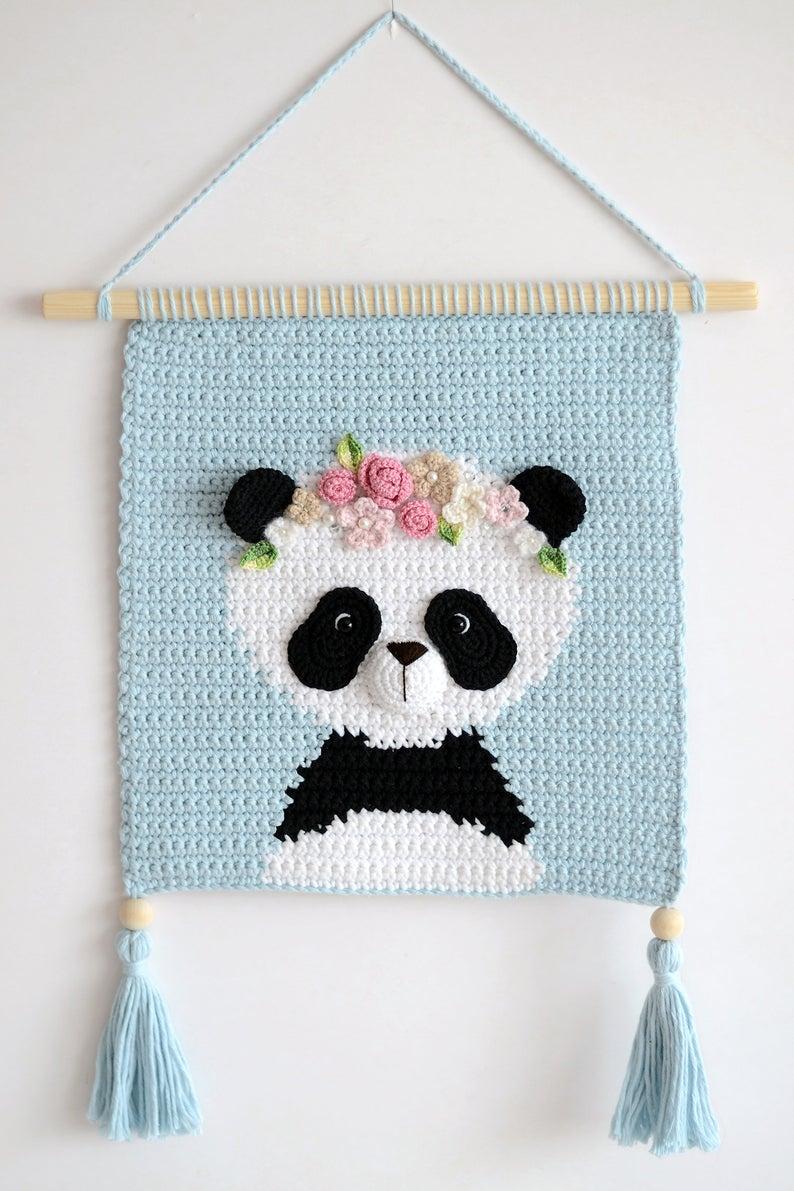 Wall hanging - Wall decor - Crochet decor - Nursery wall decor - Nursery wall hanging - Crochet panda - Crochet wall decor - Girl room decor