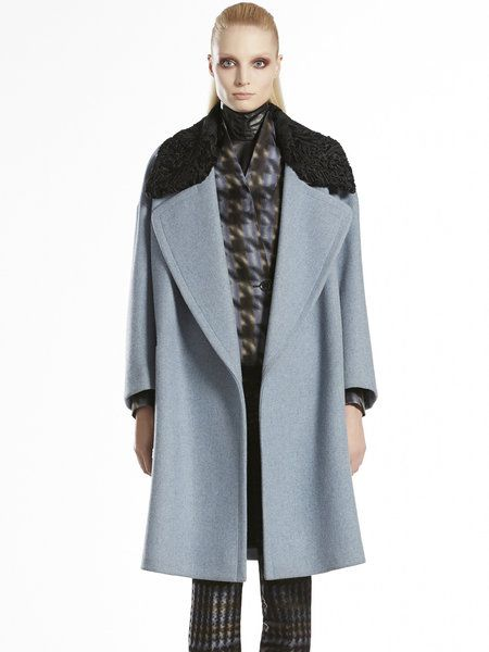 ad8ac4548 Women's Blue Wool Oversized Shearling Collar Coat | MY HAUTE LYST ...