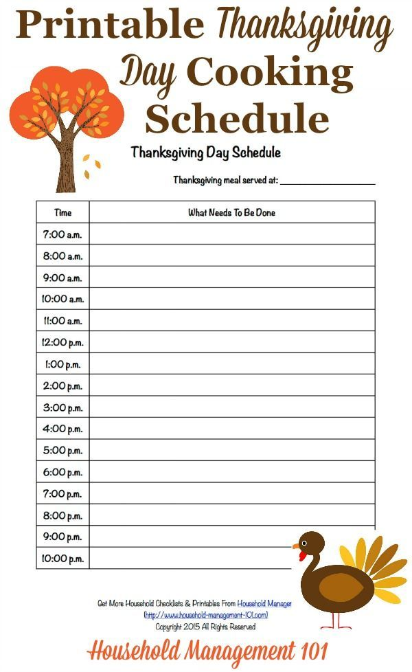 Free Printable Thanksgiving Day Schedule Cooking Countdown  Free