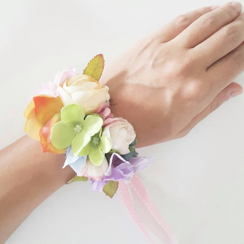 Rainbow Colour Silk Flower Wrist Corsage - Pastel Colour Wrist