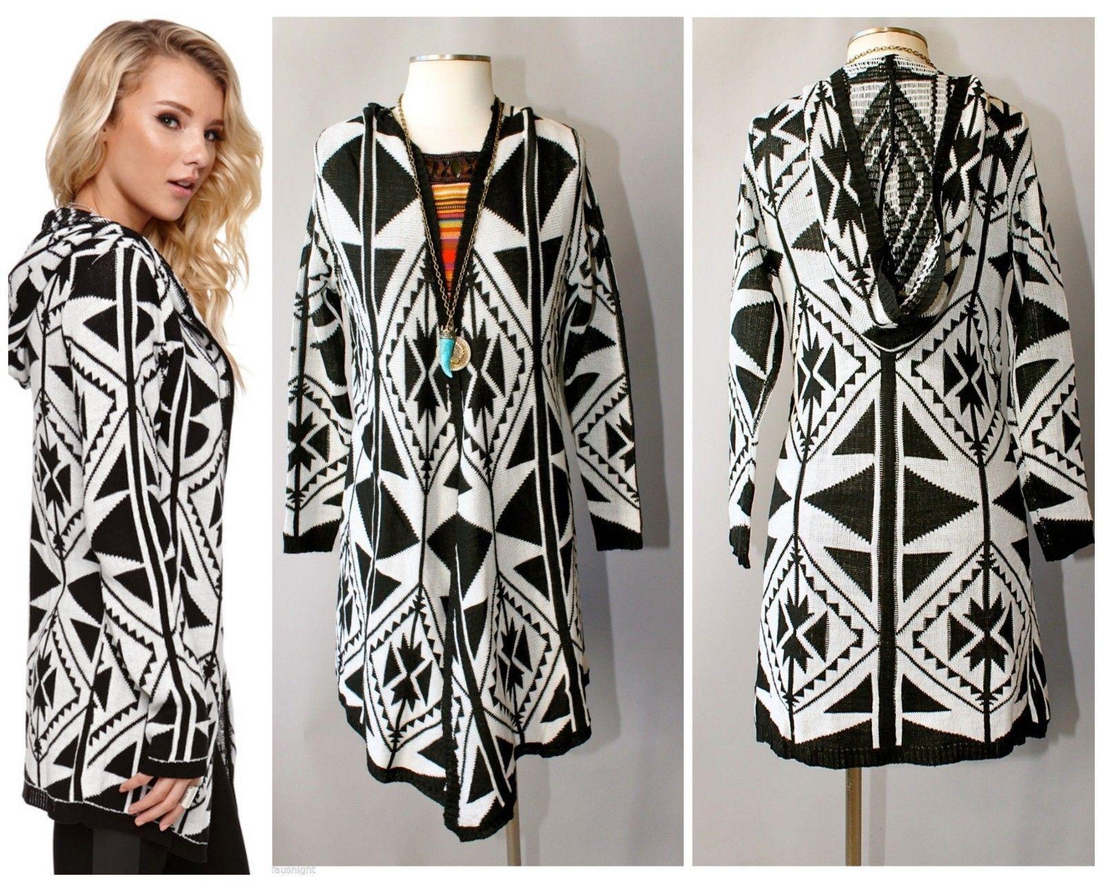 Tribal hooded maxi cardigan black ivory high end quality b.sharp ...