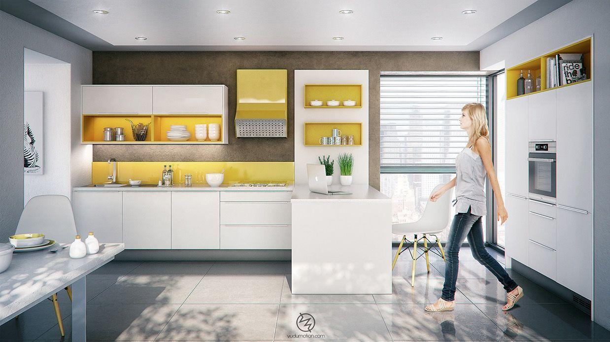 yellow-kitchen.jpg (1238×694) | Interior Design | Pinterest ...