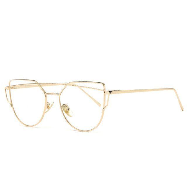 8981b2323e0 Pro Acme Spectacle Gold Frames Eye Clear Lens Glasses Frame Women Optical  Cat eye Glasses Eyewear Eyeglasses for Women CC0831