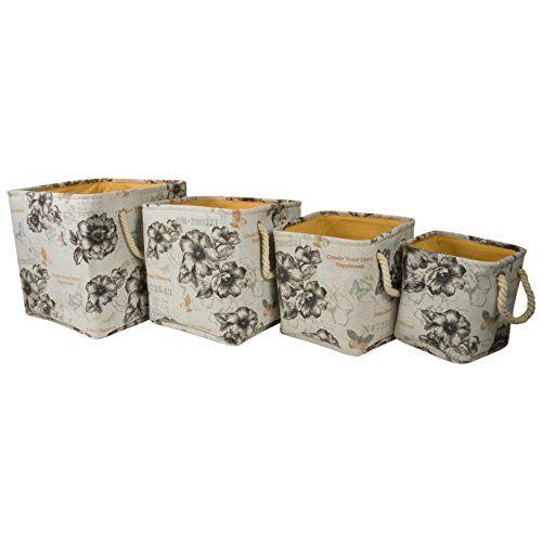 Totally Vintage Storage Bins Printed Canvas with Rope Handles (Set of 4) (Black) Raymond Waites //.amazon.com/dp/B00WT1U9LI/refu003d ...  sc 1 st  Pinterest & Totally Vintage Storage Bins Printed Canvas with Rope Handles (Set ...