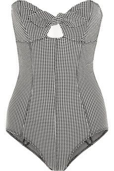 Lisa Marie Fernandez Poppy gingham seersucker bandeau swimsuit | NET-A-PORTER