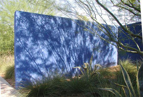 Blue wall - dry garden - agave - ornamental grass - James Hotel Landscape Architect Christy Ten Eyck
