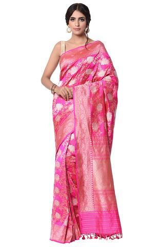 249958f5e5 Hot pink traditional angoor jangla woven Saree | Banarasi Silk in ...