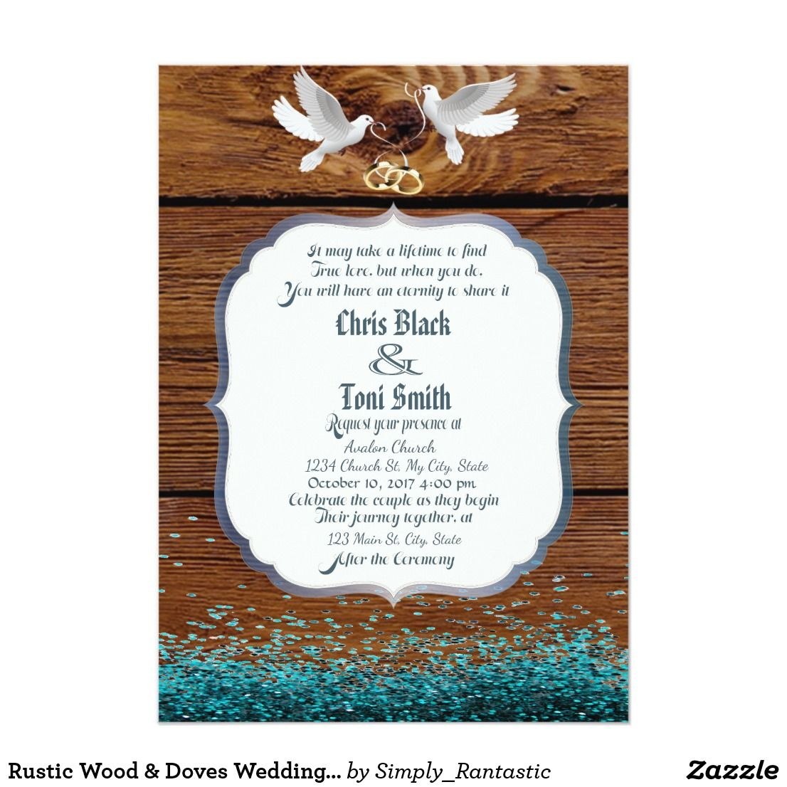 Rustic Wood & Doves Wedding Invite w/ glitter | Rustic wood, Wedding ...