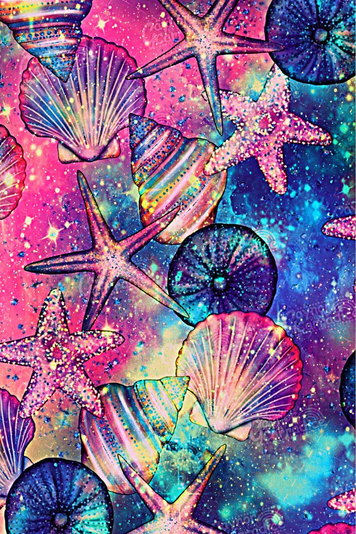 Wallpaper Lockscreen Glitter Sparkle Galaxy Summer Beach Seashells Pink Blue Colorful Wallpaper Pink Cute Cat Phone Wallpaper Wallpaper Iphone Love
