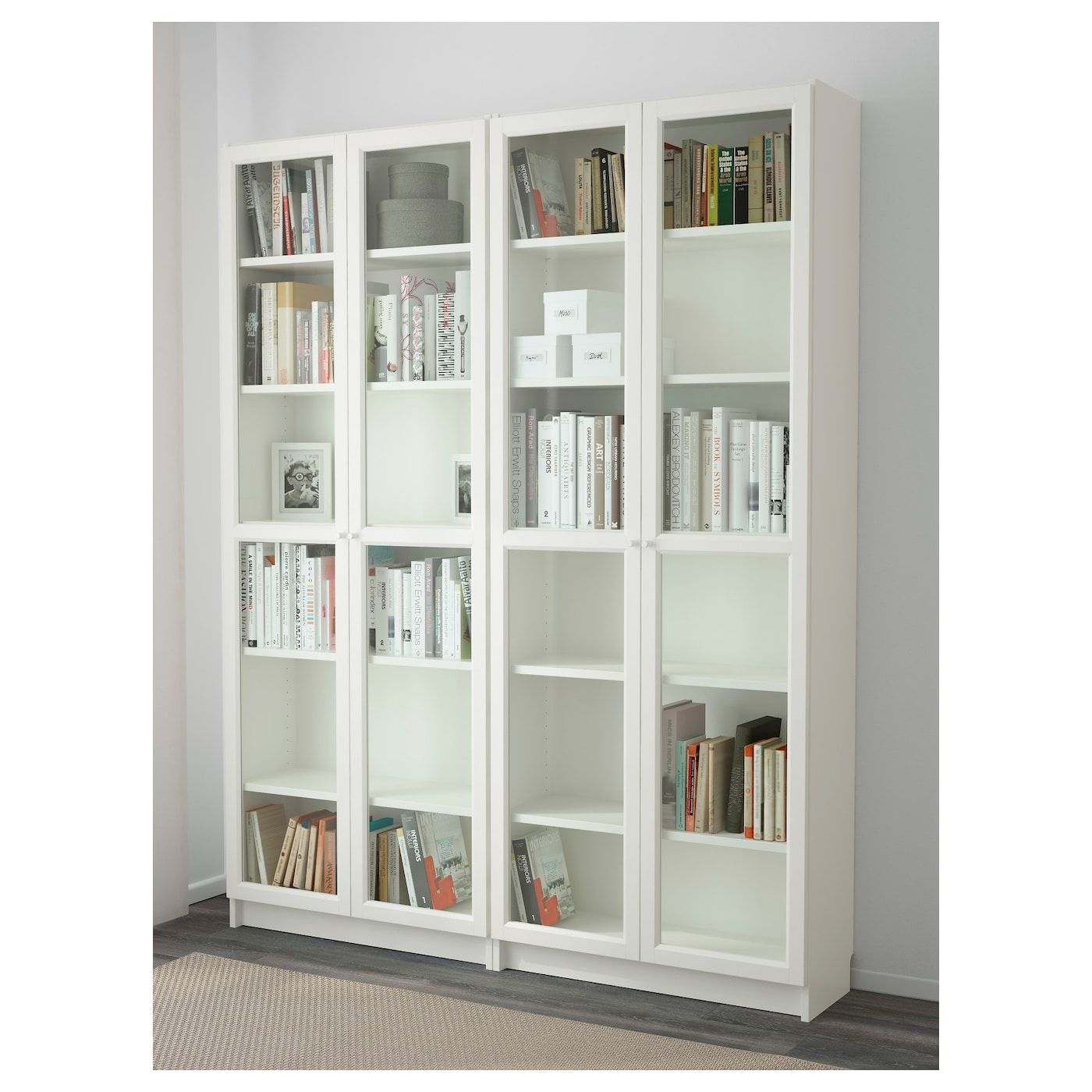 Billy Oxberg Bookcase White Glass Ikea In 2020 White Bookcase Bookcase Glass Cabinet Doors