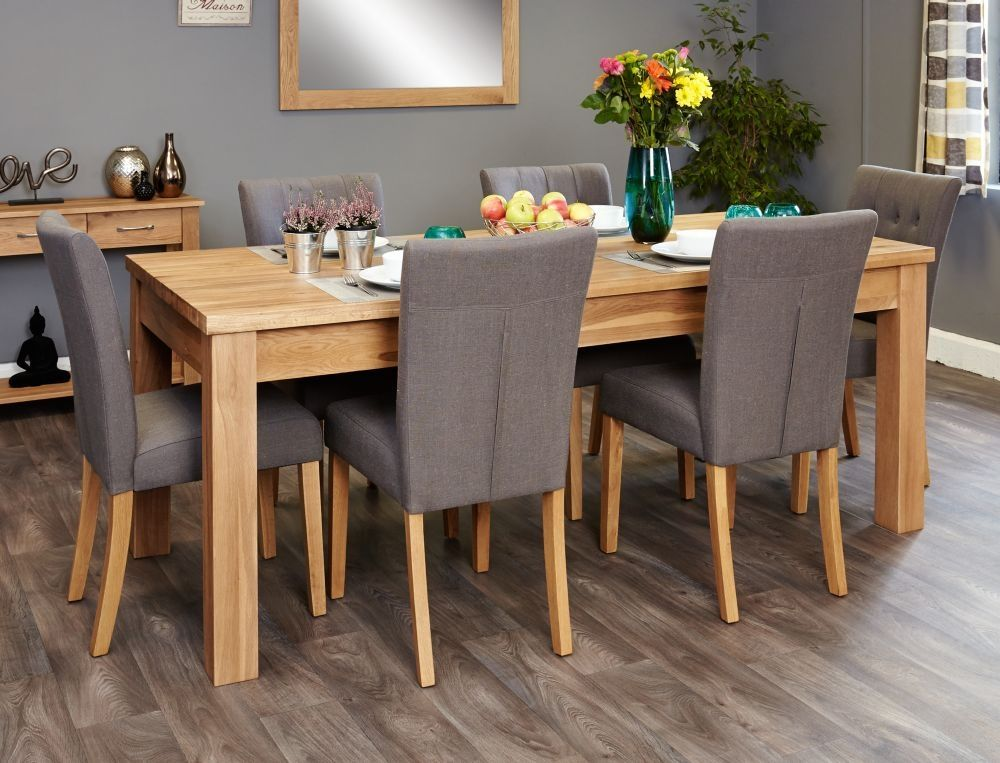 Wonderful Baumhaus Mobel Extending Oak Dining Set With 6 Flare Back Grey Upholstered  Chairs