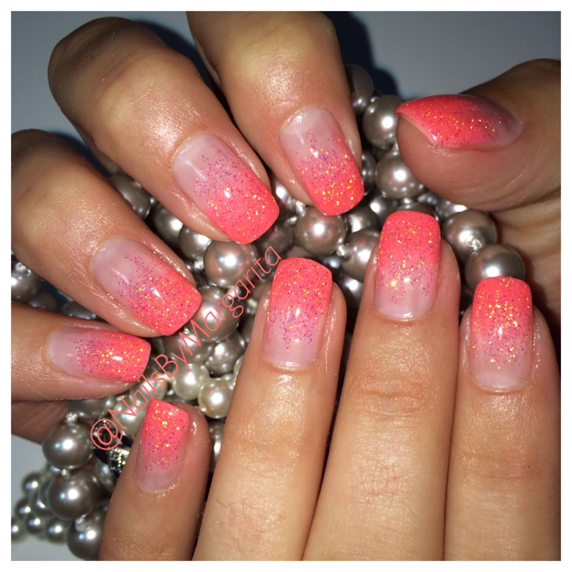 Gel Nail Designs Coral Ombre Nails Glitter Coral Ombre Nails
