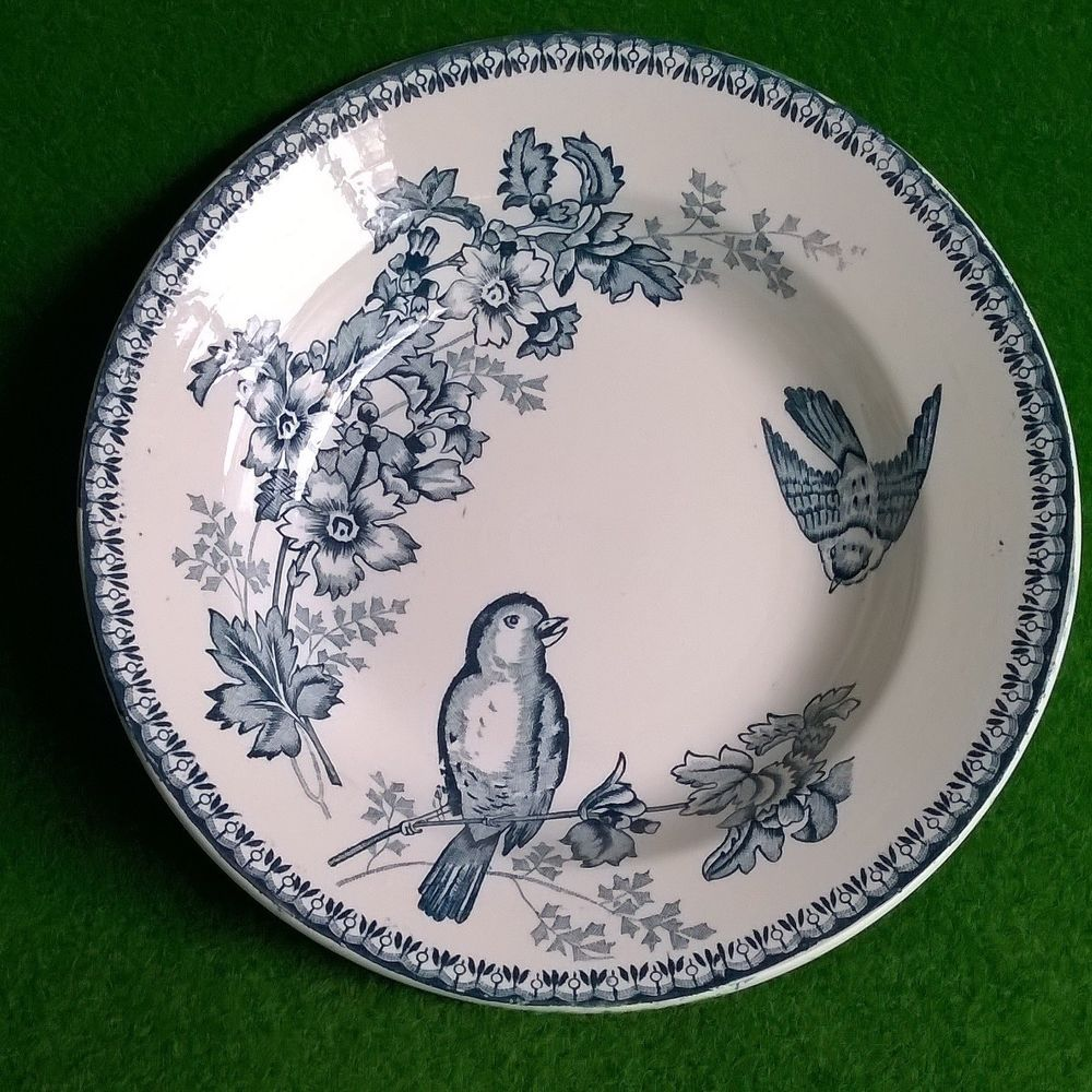 Assiette Creuse LONGWY Terre de Fer Floral Bird Vogel Suppenteller Plate Shabby
