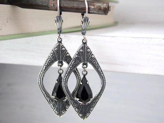 At Deco Vintage Glass Jewel Earrings Black Jet by AlteredEras