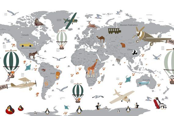 Airplane World Map Decal Clear Vinyl Decal Boys Room Etsy Murales