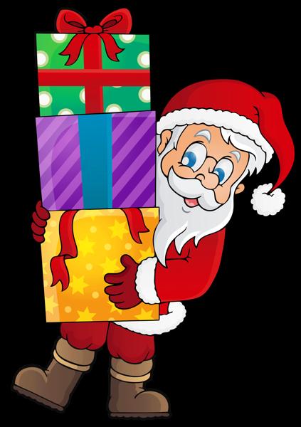Transparent Santa with Presents PNG Clipart Santa