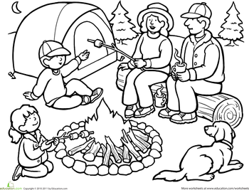 Color the Family Camping Trip Worksheets