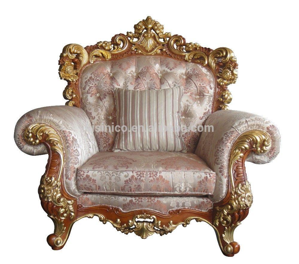 Victoria Estilo Tallado Sof De Madera Maciza Luxury Living Room  # Muebles Tallados En Madera