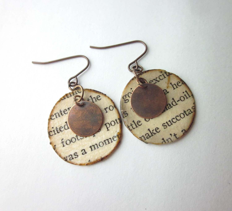Just $12, handmade book page earrings, book earrings ...