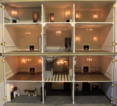 Charming Georgian Dolls House With Pavement Removed And All Front Panels Opened.