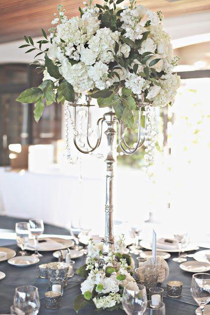 White Blue Green Wedding Flower Centerpiece In A Candelabra Full Bloom By Mjl