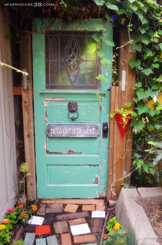 Upcycled Old Door Used As A Gate To The Chicken Garden At