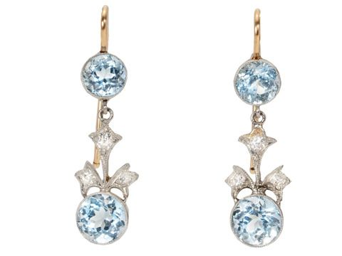 Platinum Blossom Art Deco Aquamarine Earrings ,ca 1925- The Three Graces