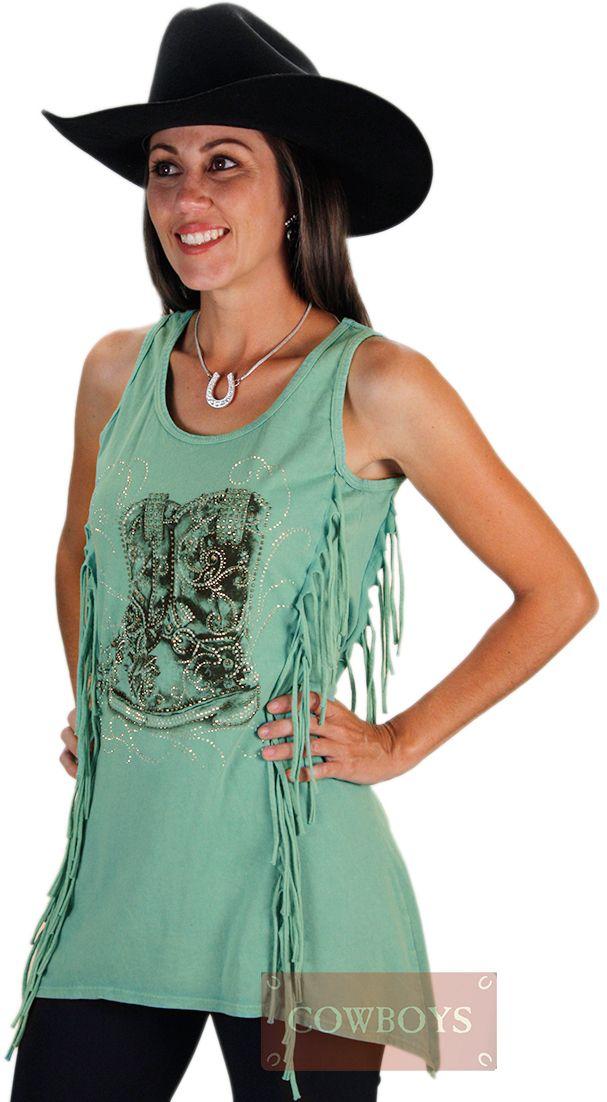 cb09e1a034 Blusinha Vocal Regata com Franja Fashion Boot Blusinha Regata na cor verde