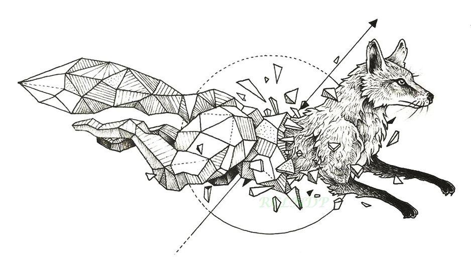 Tanie Wodoodporna Tymczasowa Tatuaż Lisa Wilk Wilki Whale Sowa