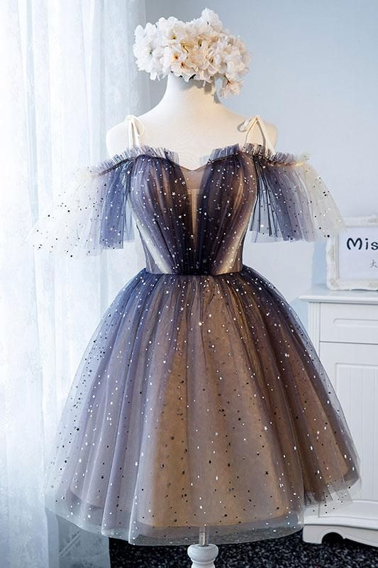 Unique tulle short prom dress, tulle homecoming dress,cute