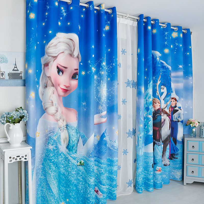 3d Cartoon Mickey Frozen White Snow Hans Pattern Blackout Curtain Custom Children S Curtain For Window Living Room Sublimacao