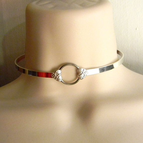 Rough Love 5mm wide Sterling Silver Slave Collar 14 & 7eighths inch inner circumference will fit a 14 and 3 eighths inch neck.