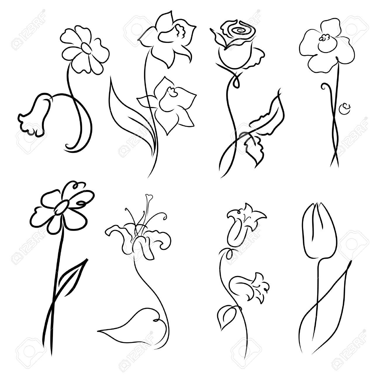 Easy Flower Drawings In Pencil: Simple Flower Designs For Pencil Drawing