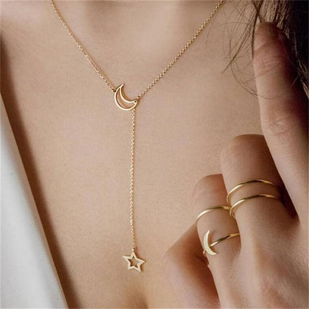 Fashion Simple Moon Star Minimalist Pendant Choker Gold Necklace Chain Jewelry