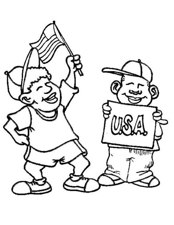 4th July, : American Kids Celebrate 4th of July Coloring Page | Kids ...