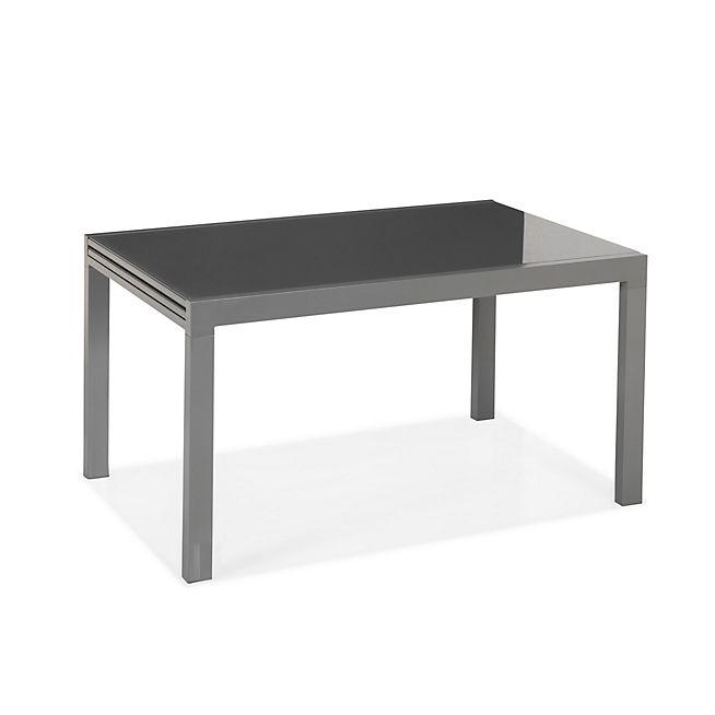 Veronica Table de jardin extensible grise en alu et verre trempé (6 ...