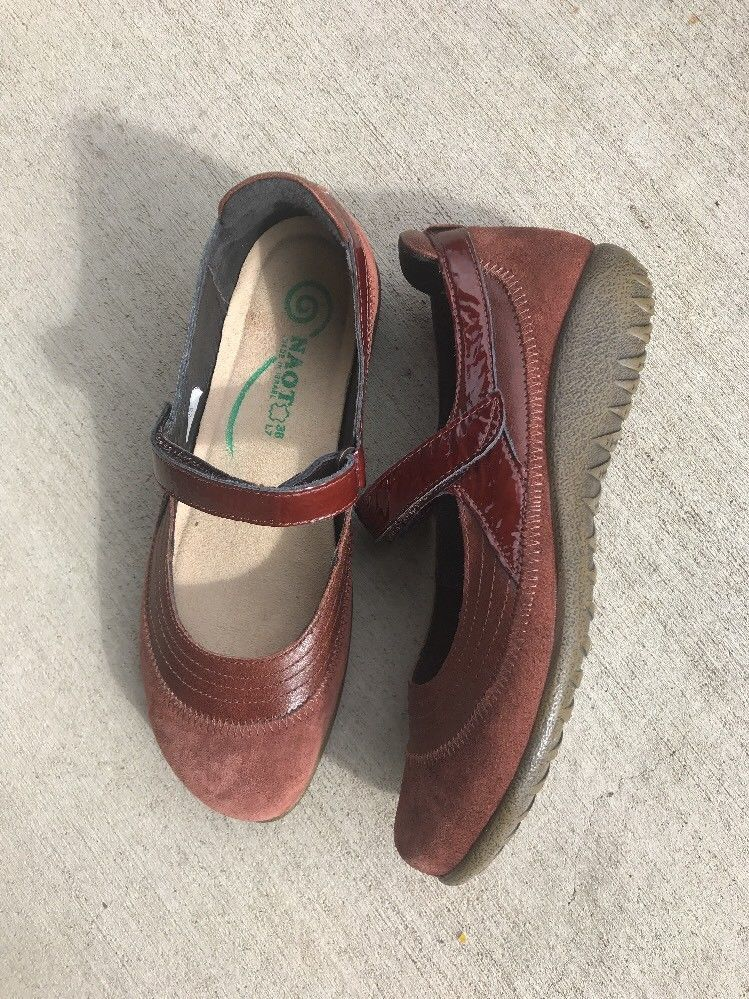 c205aa7efa2c65 Women s NAOT Kirei Luggage Br Suede Patent Leather Mary Jane s Shoes EU 38  US 7