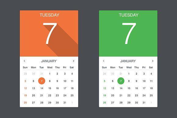 Flat Calendar Widget By Creative Vip On Creativemarket Calendar