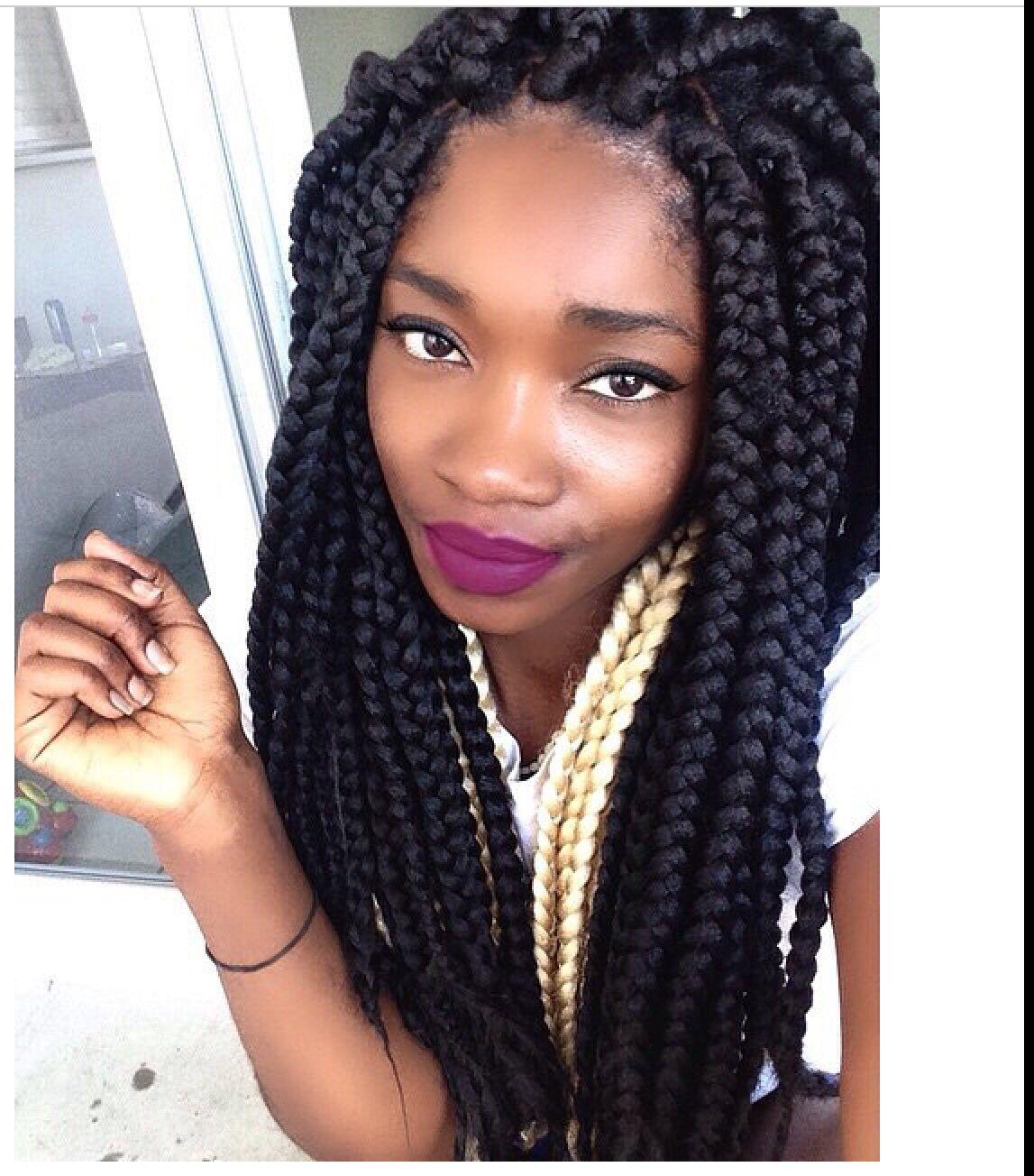box braids- large:) | natural hair, styles & color | pinterest