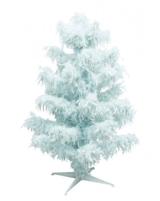 Ice Blue Feather & Tinsel Christmas Tree
