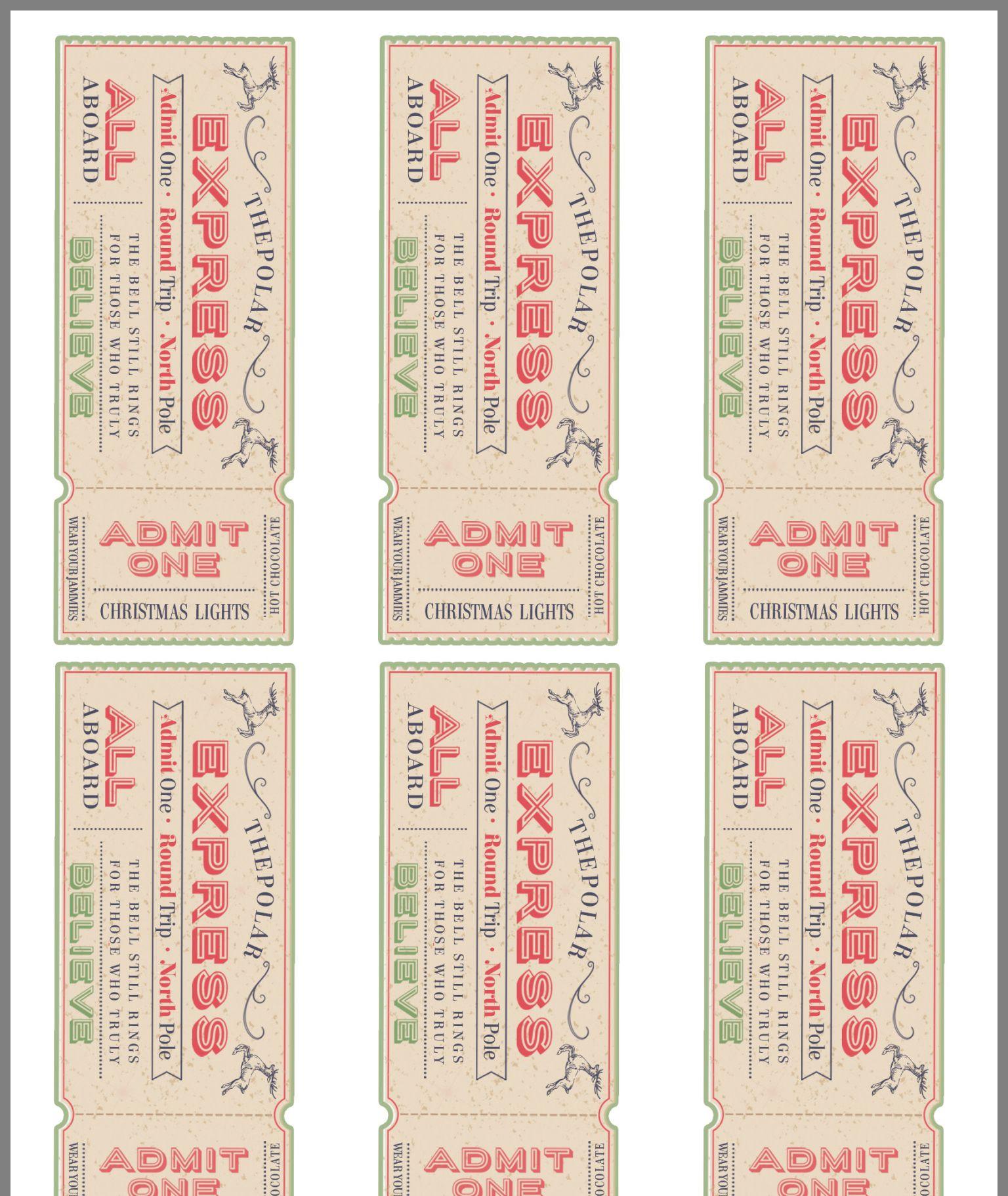 Free Ticket Printable Polar Express Christmas Party
